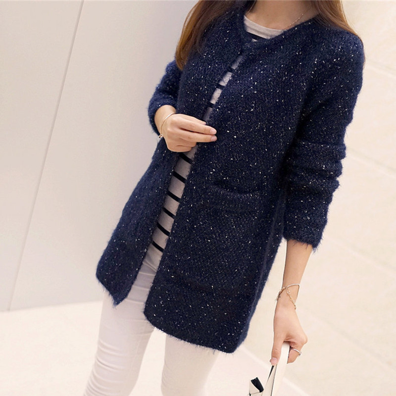 Winter Spring Women Long Knitted Coat Female Casual Pocket Sweater for Ladies Black Blue Red Long Sleeve Cardigan Women Clothes(China (Mainland))