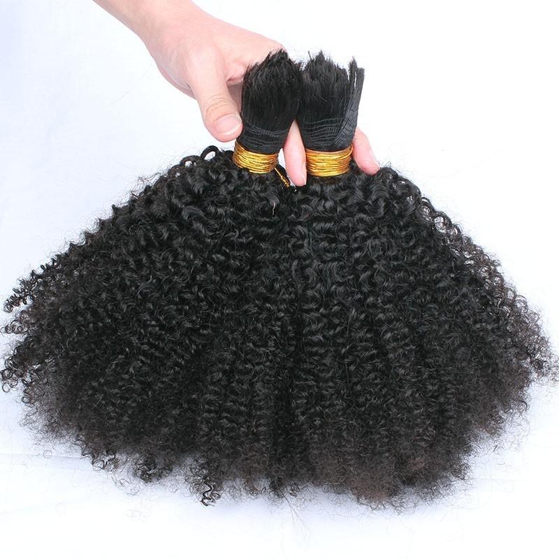 Human Braiding Hair Bulk No Weft Afro Kinky Bulk Hair For Braiding Mongolian Afro Kinky Curly Crochet Braids Micro Braiding Hair