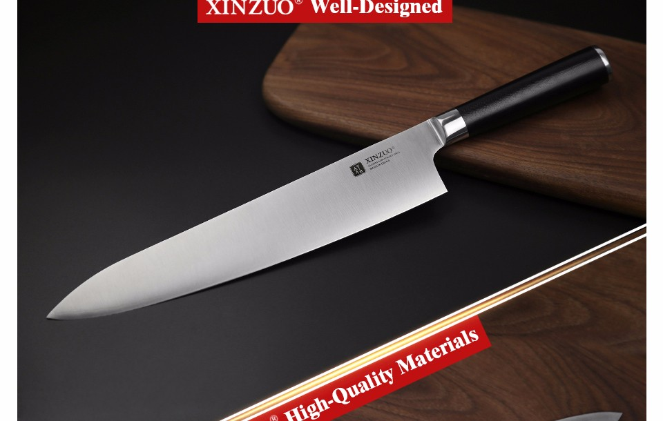 Buy XINZUO 10.5 inch butcher knife Germany 1.4116 steel santoku knife kitchen knife G10 handle Japanese chef knife free shipping cheap