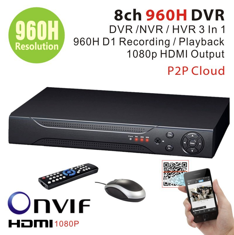 8channel 960H Full D1 Real time HDMI 1080P 8ch Hybrid dvr NVR Onvif for hikvision ip camera P2P function CCTV DVR Recorder(China (Mainland))