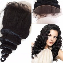 Eurasian ear to ear lace frontal closure with baby hair virgin loose wave wary dyeable hair closure 13×4 with bleached knots