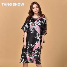Sexy Black Female Silk Rayon Robe Bath Gown Nightgown Summer Casual Home Dress Printed Peacock Sleepwear Plus Size 6XL S002-F(China (Mainland))