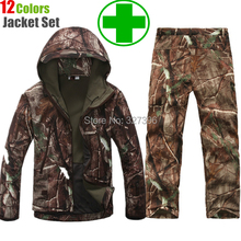 TAD Gear Tactical Softshell Camouflage Outdoors Jacket Set Men Army Sport Waterproof Hunting Clothes Set Military Jacket + Pants(China (Mainland))