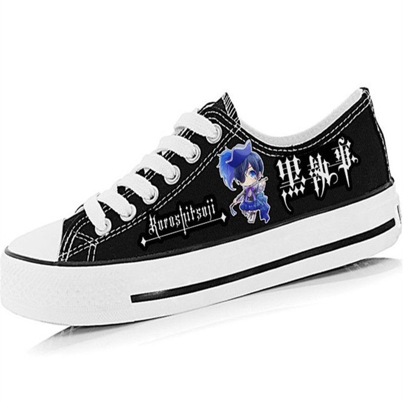Japan anime male female cartoon Cosplay shoe Black Butler print Canvas shoes hand-painted Student low flat shoes(China (Mainland))