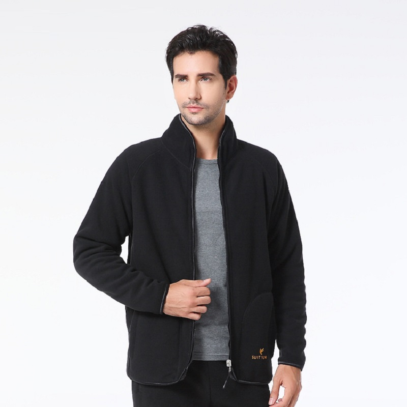Outdoors Fleece Plus Velvet Men's Jacket with Thickened Warm Wear Both Sides Autumn Winter Leisure Father Sporting Coat Male(China (Mainland))