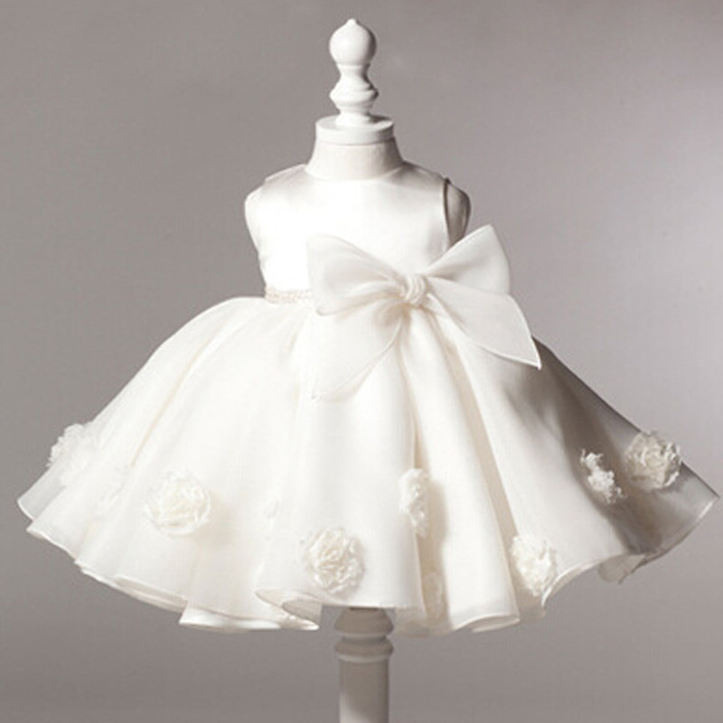 2016 summer baby girl christening gowns 1 year birthday dress Big bow fashion tutu wedding baptism