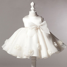 2016 summer baby girl christening gowns 1 year birthday dress Big bow fashion tutu wedding baptism dresses
