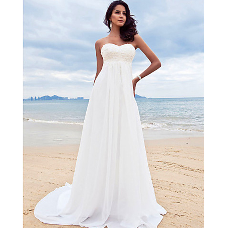 2015 New Sweetheart Beach Wedding Dress Off The Shoulder A Line Emboridery Bridal Wedding Gown