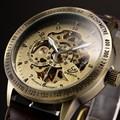 Bronze Retro Skeleton Steampunk Automatic Relojes watches Men Leather Self Wind Mechanical WristWatch Relogio Masculino
