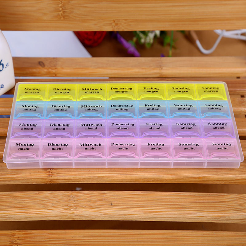 4 Row 28 squares Weekly 7 Days Tablet Pill Box Holder Medicine Storage Organizer Container Case Free shippping MD406(China (Mainland))