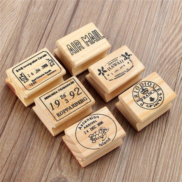 6 шт./компл. ретро старинные поделок симпатичные деревянные штампов для дневник скрапбукинг украшения ремесло для детям подарки 6 Pattens