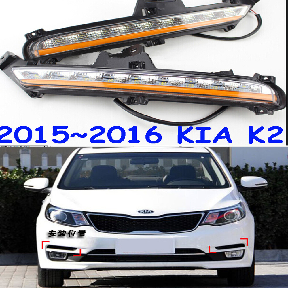 Free ship!2015~2016 KIA K2 LED daytime running light,Fog lamp,2pcs/set+wire of harness,6500K,10W 9~16V,Excellent brightness!<br><br>Aliexpress