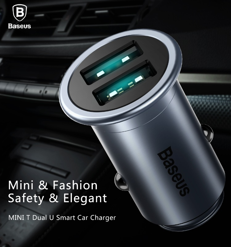 BASEUS Brand Mini T Series 2.4A Pure Copper Dual USB Smart Car Charger Adapter Blue LED iPhone 7 6 /Samsung Universal