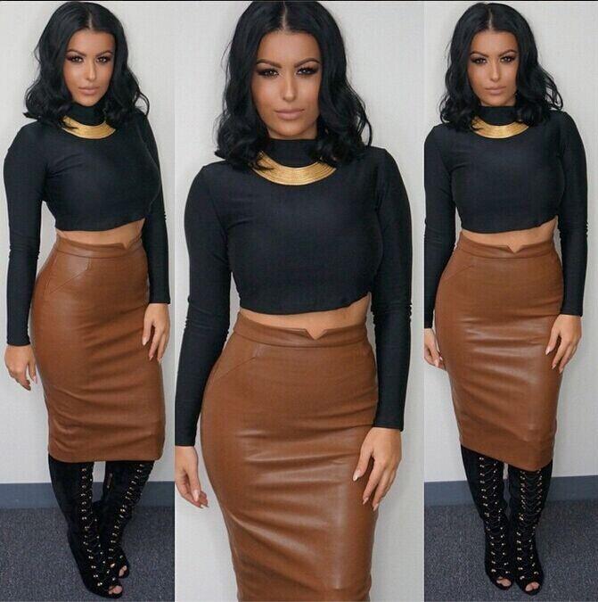 2015 new 2 piece set women fashion crop top skirt PU knit tops - Online Store 832773 store