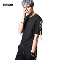 Men Short Sleeve T shirt Rope Decorate Streetwear Fashion Hiphop Punk Tees Shirts Stage Costume