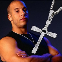 2017 New Male Necklaces & Pendants Fashion Movie jewelry The Fast and The Furious Toretto Men Classic CROSS Pendant Necklace(China (Mainland))