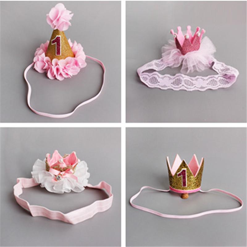 Handmade Infant Newborn Mini Felt Glitter Crown Flower Headband For Baby Girls 1st Birthday Party DIY Garments Hair Accessories(China (Mainland))