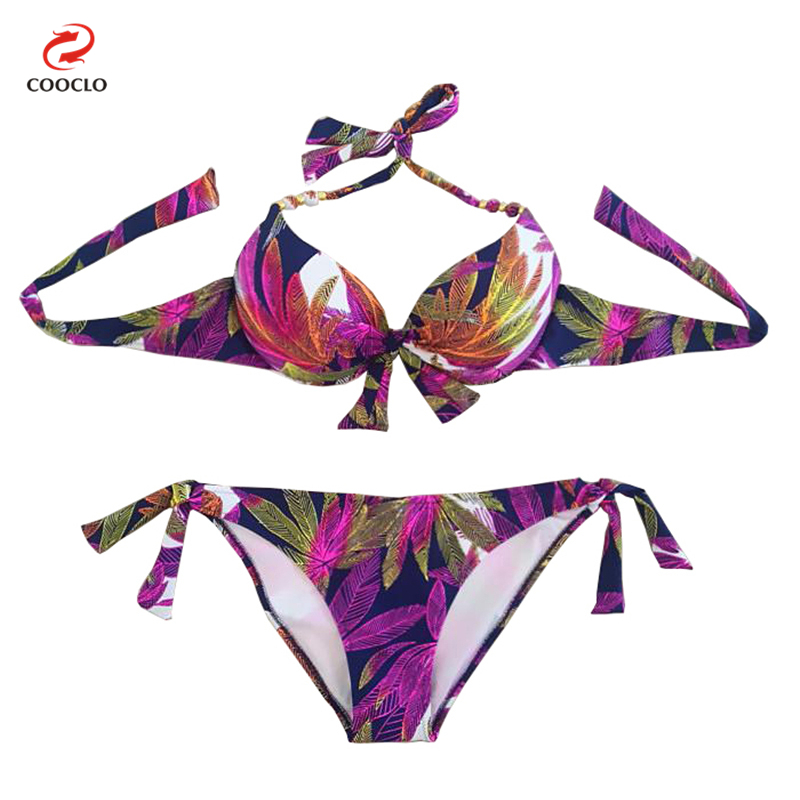 hot sale new style women swimwear push up bikini set women leaves print swimsuits beachwear in. Black Bedroom Furniture Sets. Home Design Ideas