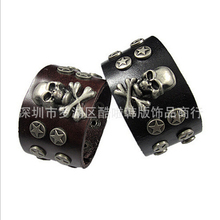 new 2015 luxury 100% genuine leather skeleton cuff bracelet hot fashion punk style vintage bangle for men women free ship NSL-35
