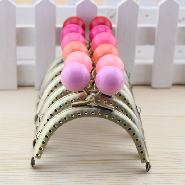 Free Shipping,8.5cm Semicircle Bronze Candy Bead Metal Purse Frame, Frame handle,18 Color Cute Coin Purse Frames,18Pcs/Lot K061(China (Mainland))