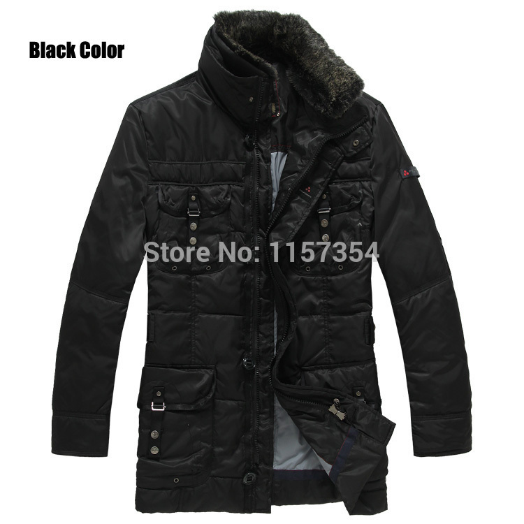top brand 3 Colors-Brand Peuterey Mens Black/Coffee/Navy Jacket With Four Pockets Removable Fur Collar,Size S-XXXL(China (Mainland))
