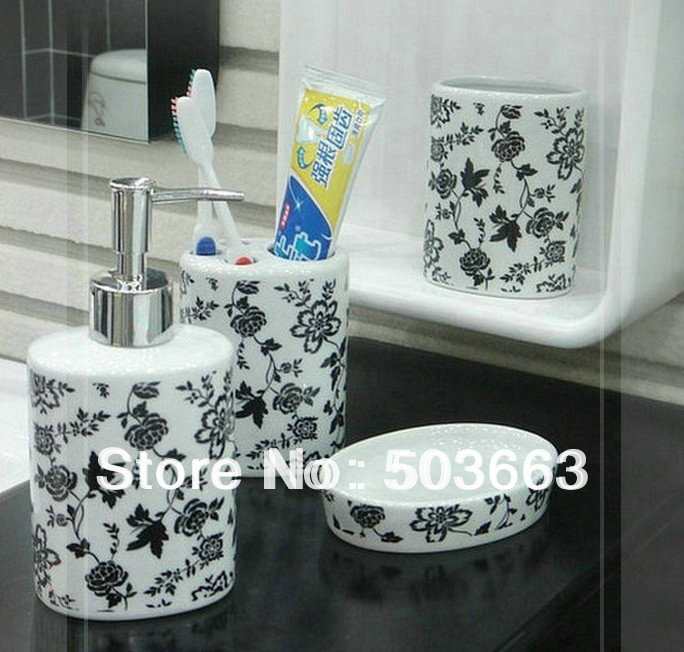 nice bathroom accessories set of 4 small black flower b8310h cozinha monocomando in bathroom