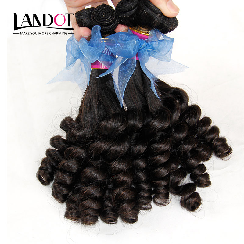 Peruvian Aunty Funmi Virgin Hair Bouncy Curly Romance Loose Curly Virgin Human Hair Weave 3 Bundles Lot Natural Black Extensions(China (Mainland))