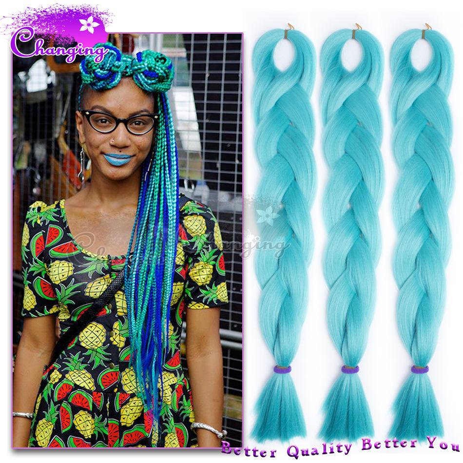 Inch Light Blue Box Kanekalon Braiding Hair Blue Kanekalon Jumbo Braid ...