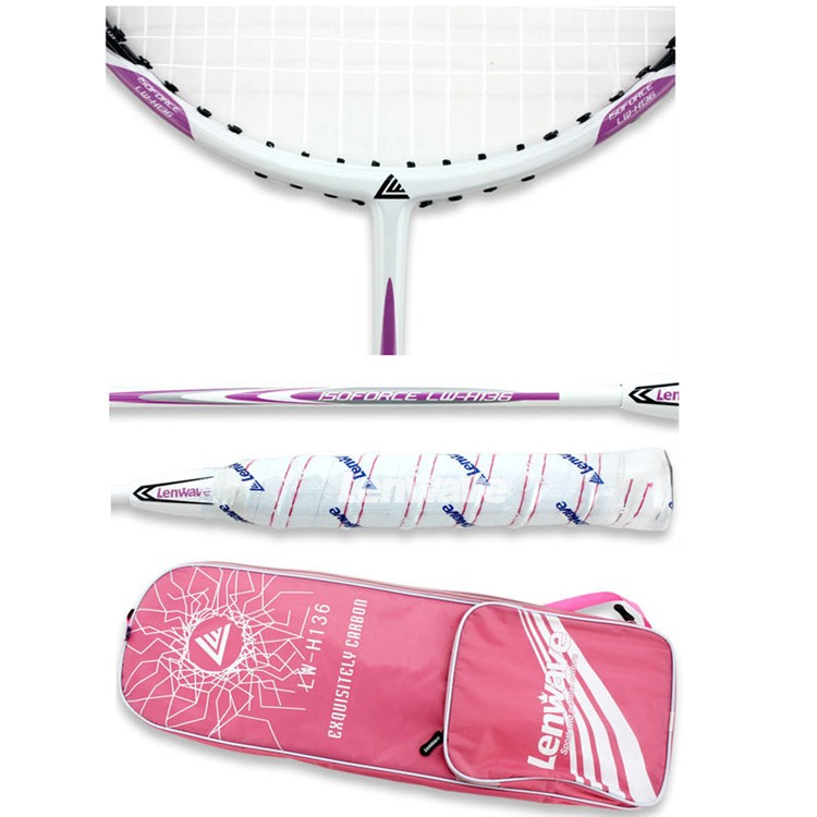 Lenwave Brand Fast Delivery 1 Pair Carbon Badminton Rackets Resistance Fight Racket And Badminton Racket Bag