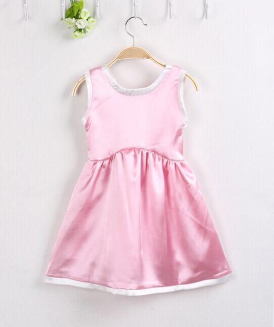 2015 New Girl Dress Fashion Sleeveless Summer Dress For Girls Dresses Pink Princess Dress Vestidos Infantis Girl Party Dress