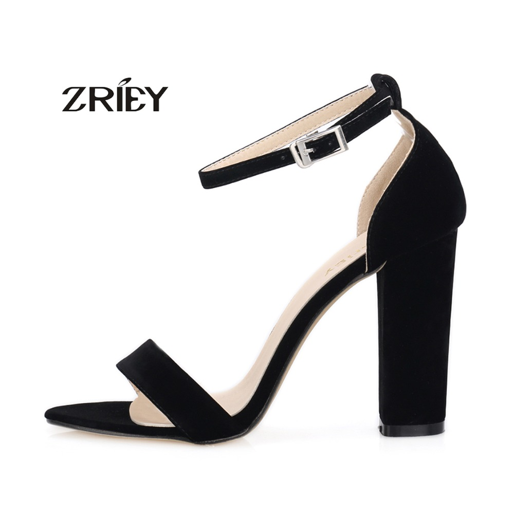 2016 Newest Women Open Toe Sexy Ankle Straps Sandals High Heels Summer Ladies Bridal Suede Thick Heel Pumps<br><br>Aliexpress