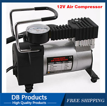 New Portable Mini 12V Car Air Compressor Electric Tire Infaltor Pump Tire Inflator metal shell with 3 Pneumatic Nozzle(China (Mainland))