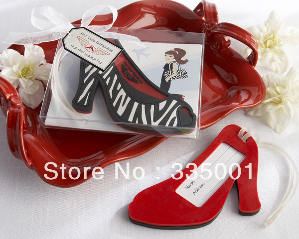 Factory directly sale 30pcs/LOT Wedding favor First Class Fashionista High Heel Luggage Tag(China (Mainland))