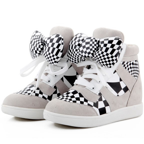 Hello Kitty Bowknot Sneakers,Genuine Leather 3 Color Styles,Size 35~40,Cow Muscle Soles,Height Increasing 6cm,Women's Shoes