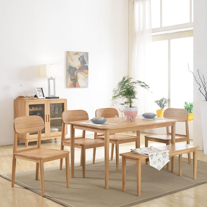 FULLLOVE Scandinavian Modern Minimalist Wood Dining Table Japanese White Oak