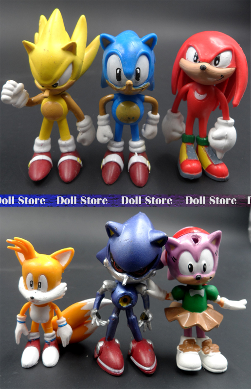 6pcs/lot 6cm PVC X Sonic the Hedgehog Collection action figure set Best kid toys for boys(China (Mainland))