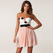 Sexy Sweet women Princess three-dimensional flowers wrapped Dress chest hit color Chiffon Dresses Party dresses 2 colors(China (Mainland))