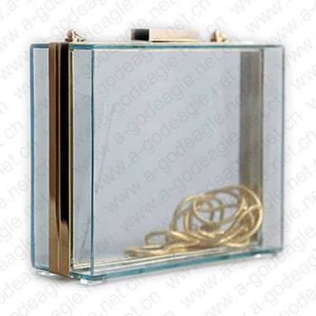 Free shipping!! Hot sale 2013  6 candy colors with gold chain metal frame acrylic clutch clear bag evening bags gifts for lady