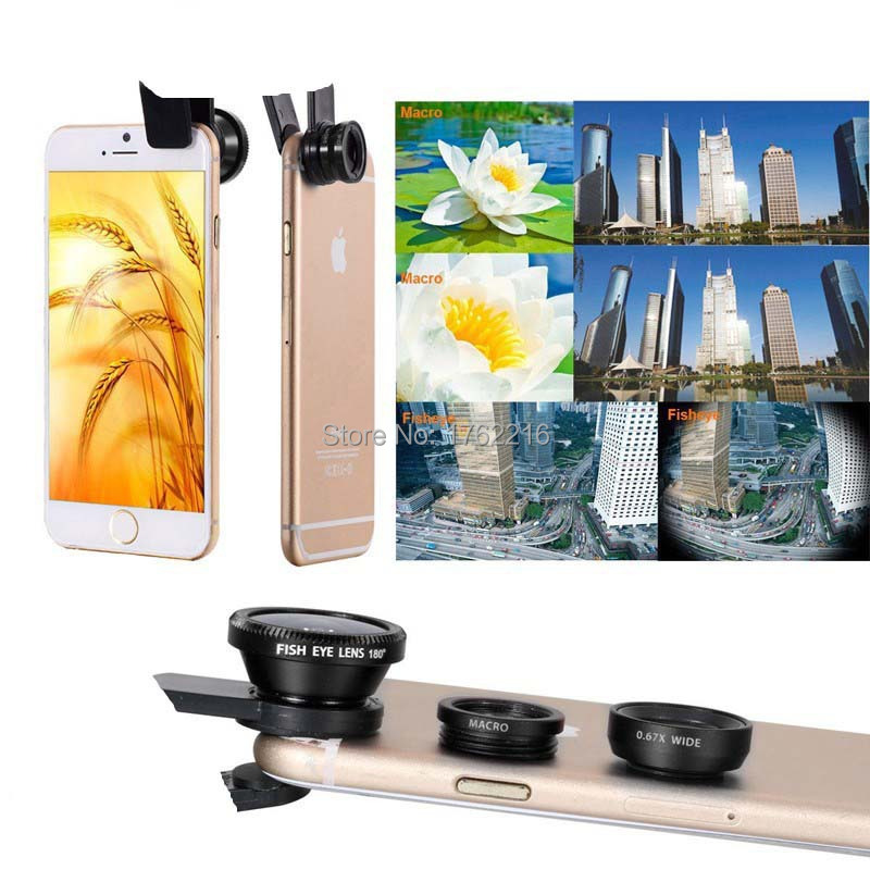 Universal 3in1 Clip Fish Eye Lens+ Wide Angle +Macro Mobile Phone Lens For iPhone 5 6 6 Plus Samsung All Phones fisheye