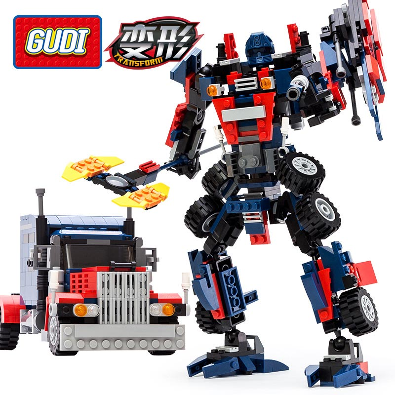 377pcs Transform Series Optimus Prime Transformation Robot Car Big Truck Building Block Model Toy Compatible With Lego Gudi 8713(China (Mainland))