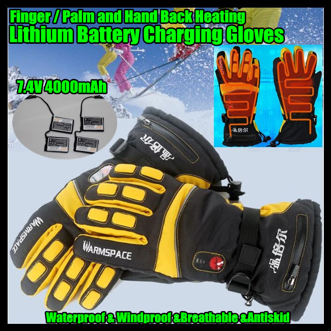 30pairs! 7.4V USB Electric Heat Gloves,Outdoor Ski Sport Lithium Battery Self Heating,Finger/Palm/Hand Back Heating,3 Gear 6-12H(China (Mainland))