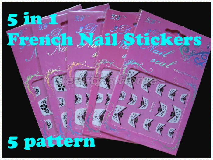 5 1 french nail designs adhesive Nail Stickers decals Art Decoration different pattern #0826 - Packing Supplier(Bottles and Jars store)