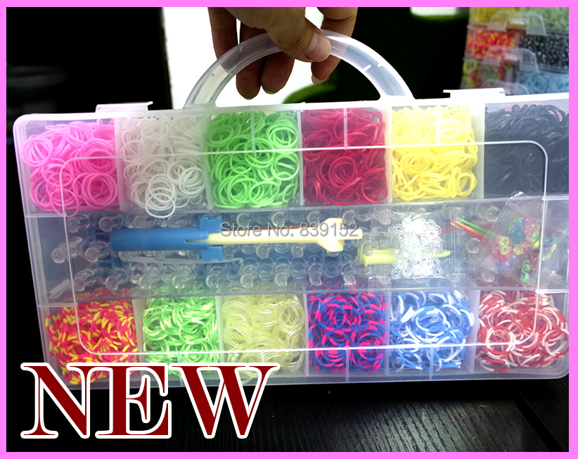 3600 PCS Rubber Latex Loom Bands Refills With New Style Transparent Box +1 Original Board +1 Original Hook + 120 S-clips(China (Mainland))