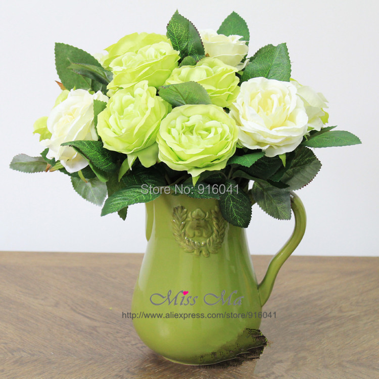 12 Stem/Lot - White Green Rose Flower Artificial Wedding Table Flower Party Event Bouquet Plastic Fake Flower Crafts Zakka IKEA(China (Mainland))