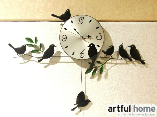A020 new 2014 wall clock safe home decoration decor single clocks painting watch morden design birds unique gift craft - Artful store
