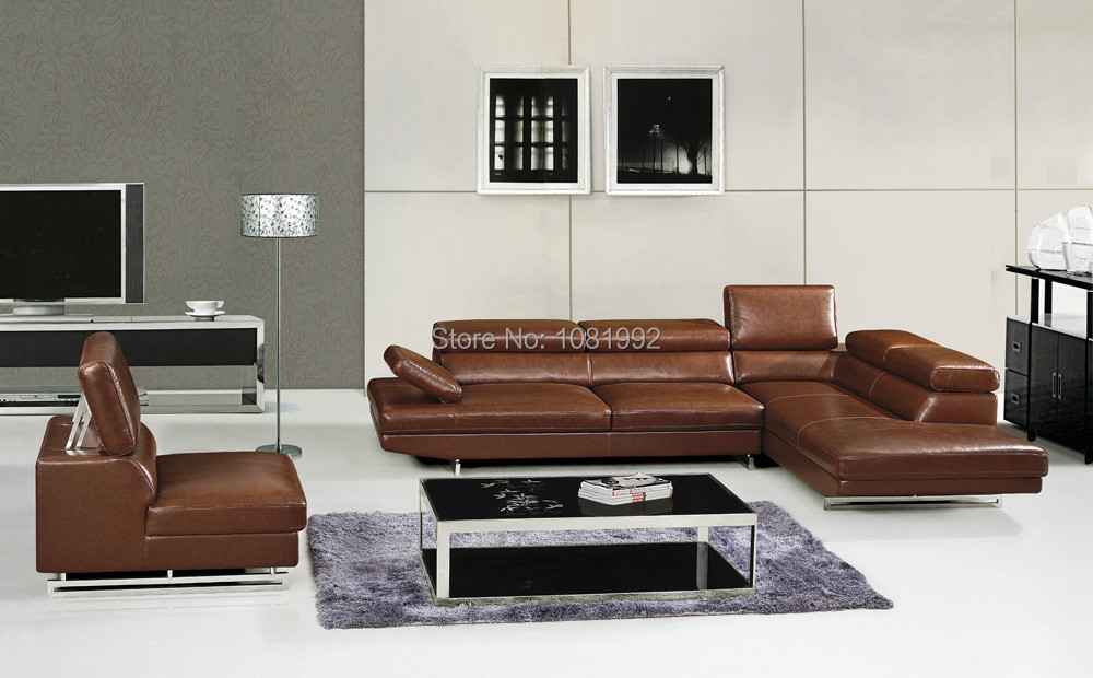 Simple but elegant genuine leather sofa living room - Cheap leather living room furniture ...