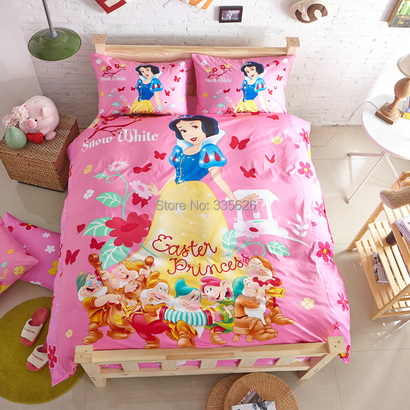 Promotion snow white princess bedding girls comforter bedclothes queen twin full size bed linen - Twin size princess bed set ...