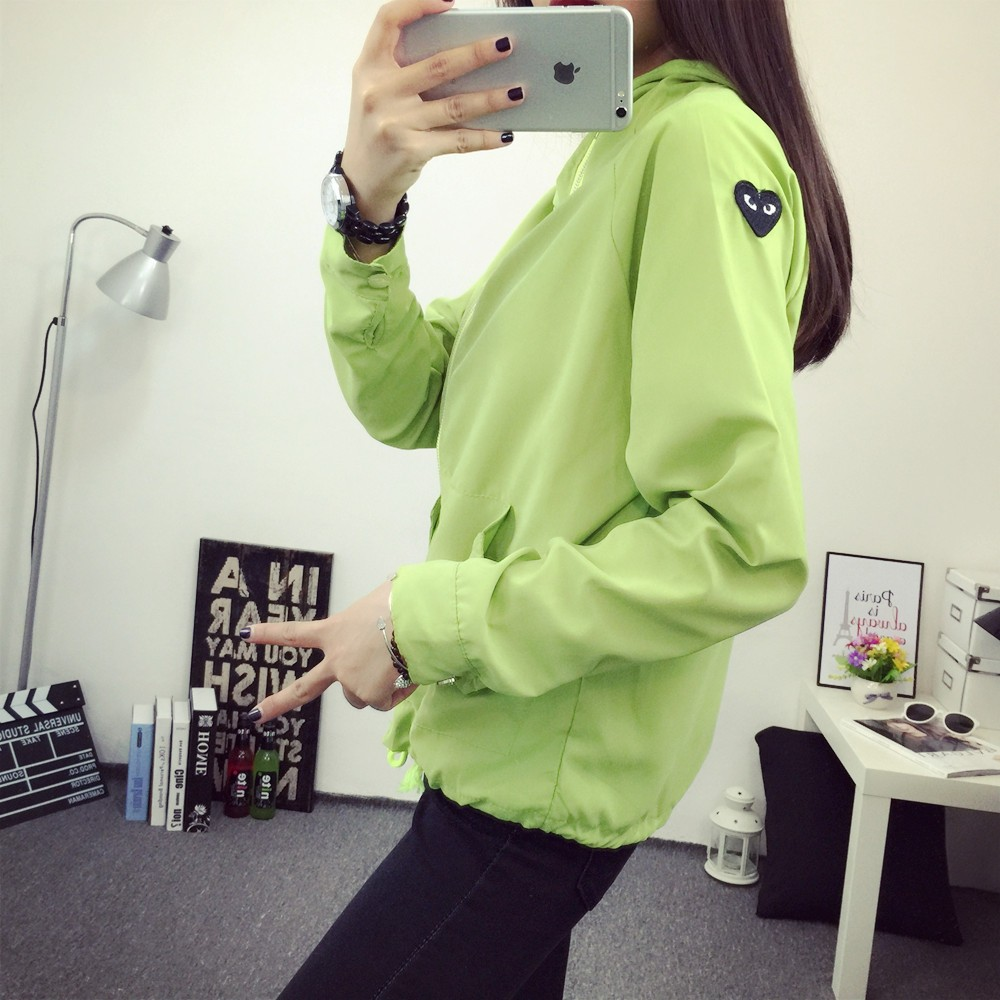 2016 Spring Autumn Windbreaker  Black Jacket  Women Hooded Sweatshirt Outwear Jacket Chaquetas Mujer Primavera Coats