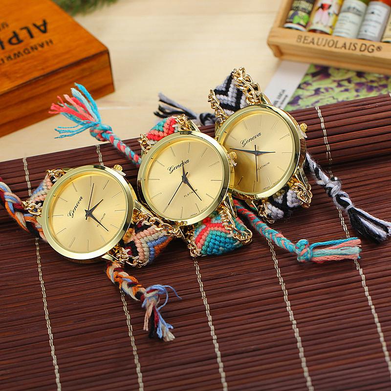 13 Colors Braided Rope Bracelet Geneva Watches Hand Made Friendship Watch Women Quartz Watches BW-SB-1151(China (Mainland))