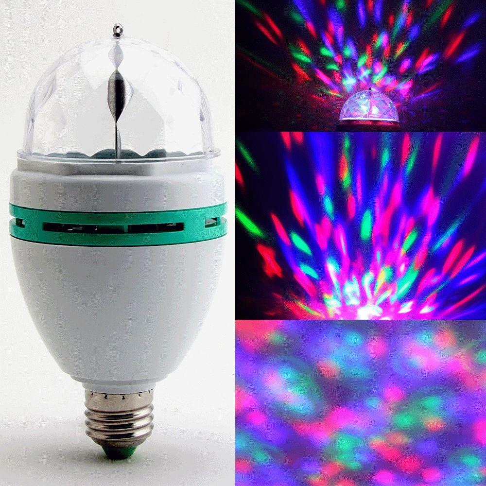 USA Stock! 3W E27 RGB Crystal Ball Rotating LED Stage Light Bulb for Club DJ Disco Party(China (Mainland))